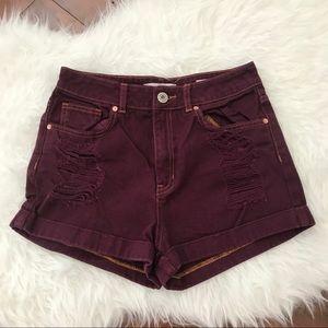Bullhead Denim Co Maroon Mom Shorts